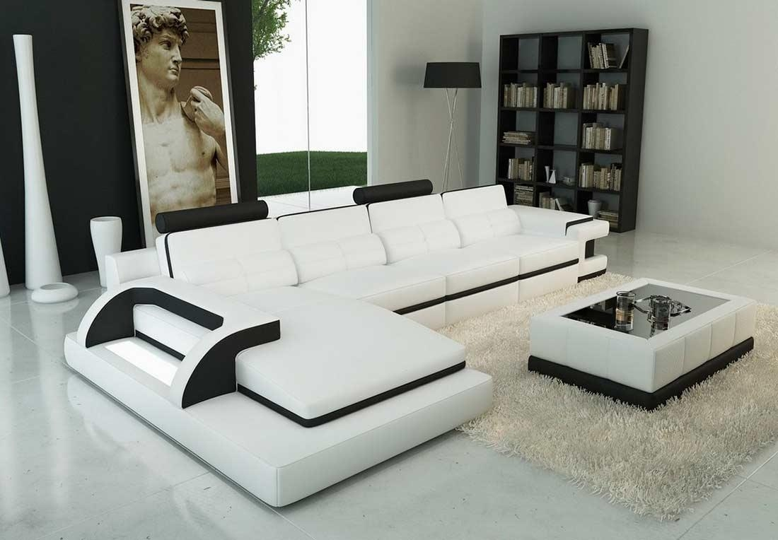 Modern Leather Sectional Sofa, Contemporary Leather Sectional Inside White And Black Sofas (Image 20 of 21)