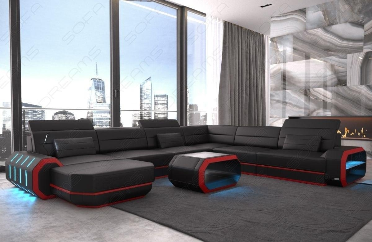 Modern Leather Sofa Brooklyn Xl Shape Within Sofas With Lights (Image 15 of 21)