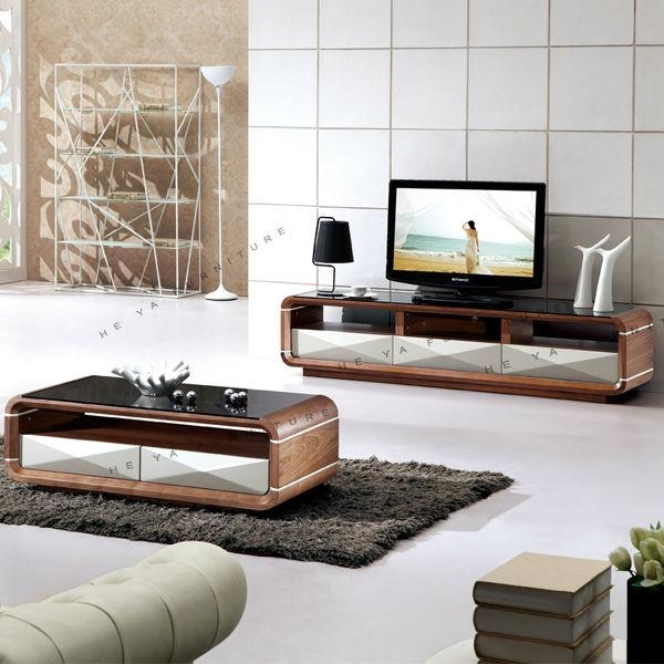 Modern Mdf Media Console Tv Table, Assembly Wooden Tv Stand, View Intended For Latest Matching Tv Unit And Coffee Tables (Image 14 of 20)
