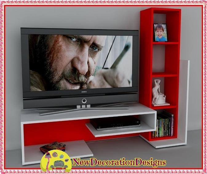 Modern Red And White Modular Living Room Wall Unit Designs | New Inside Most Recently Released Red Tv Units (Image 10 of 20)