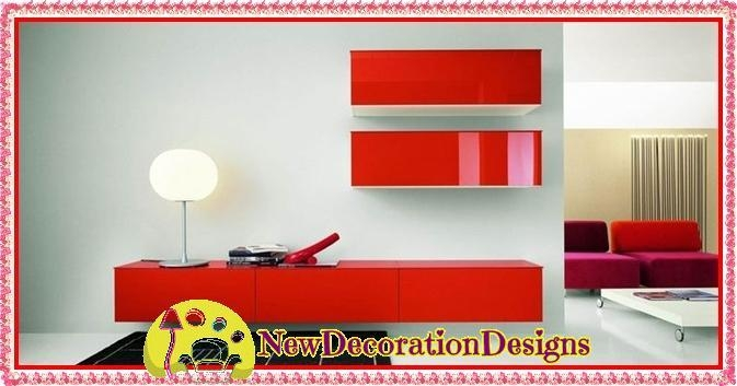 Modern Red Tv Cabinet And Tv Unit Wall Shelve Designs | New Intended For  Current Red