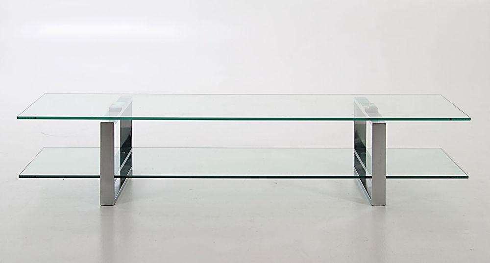 Modern Stylish Clear Glass And Chrome Tv Table | Tv Stand With In Newest White Glass Tv Stands (View 5 of 20)