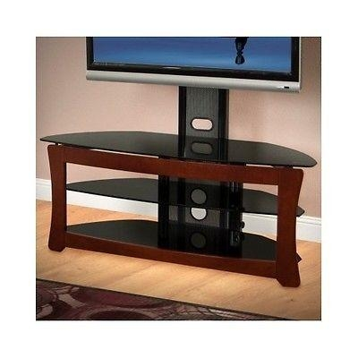 Modern Tv Stand 55 Inch Swivel Mount Black Glass Shelves Corner Throughout 2018 Swivel Black Glass Tv Stands (Image 16 of 20)