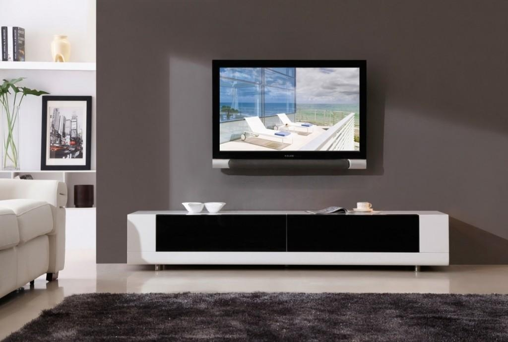 Modern Tv Stands Black White Theme Computer Desk Tv Stand Combo With Latest Wall Mounted Tv Stands For Flat Screens (View 11 of 20)