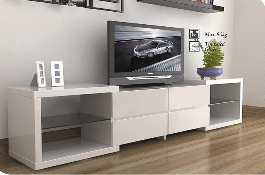 Modern Tv Stands Enchanced The Modern Living Room » Inoutinterior Within Latest Modern White Lacquer Tv Stands (Image 10 of 20)