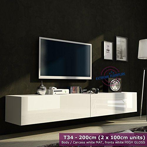 Modern Tv Unit Cabinet High Gloss Tv Stand Entertainment Lowboard Intended For Most Current Tv Unit 100Cm (Image 6 of 20)