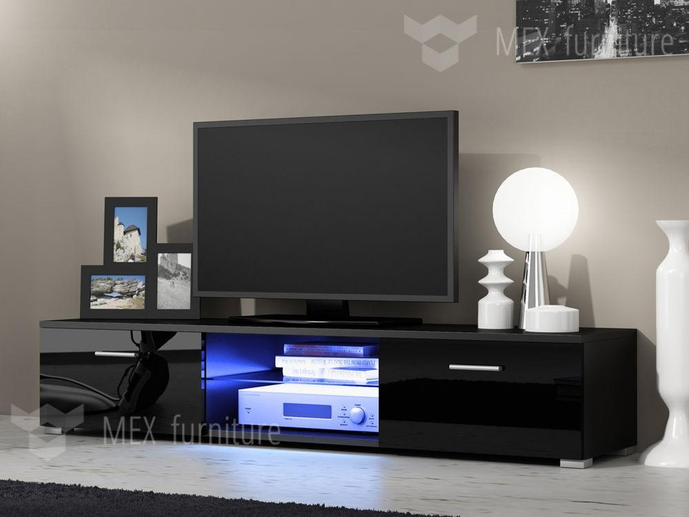 Modern Tv Unit Cabinet Stand Black Matt And Black High Gloss Doors With Regard To Latest Black Gloss Tv Bench (Image 9 of 20)
