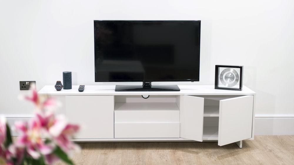 Modern Tv Unit | White Oak Veneer | Stylish Storage Cabinet Inside Most Recently Released Tv Units With Storage (Image 12 of 20)