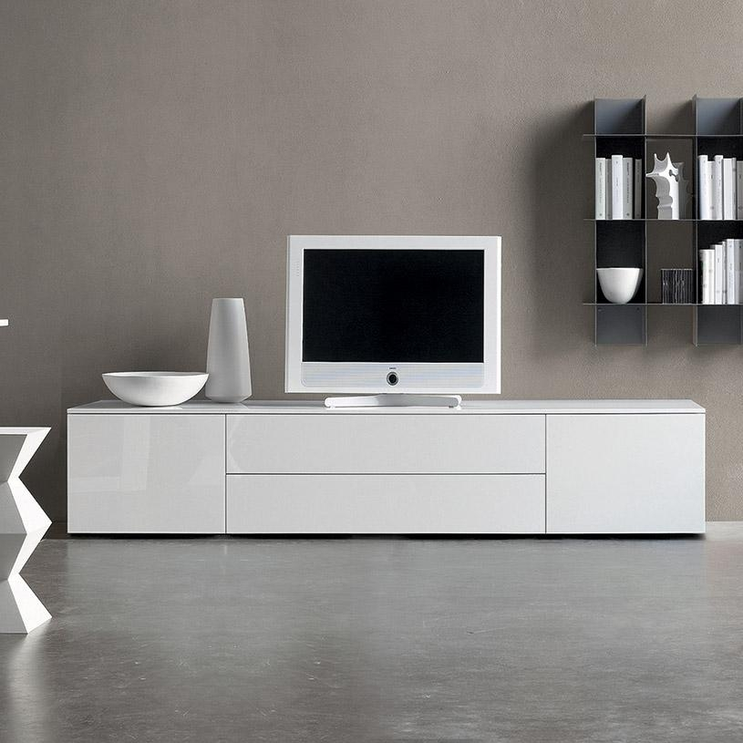 20 photos modern white gloss tv stands tv cabinet and for Meuble salle manger blanc ikea