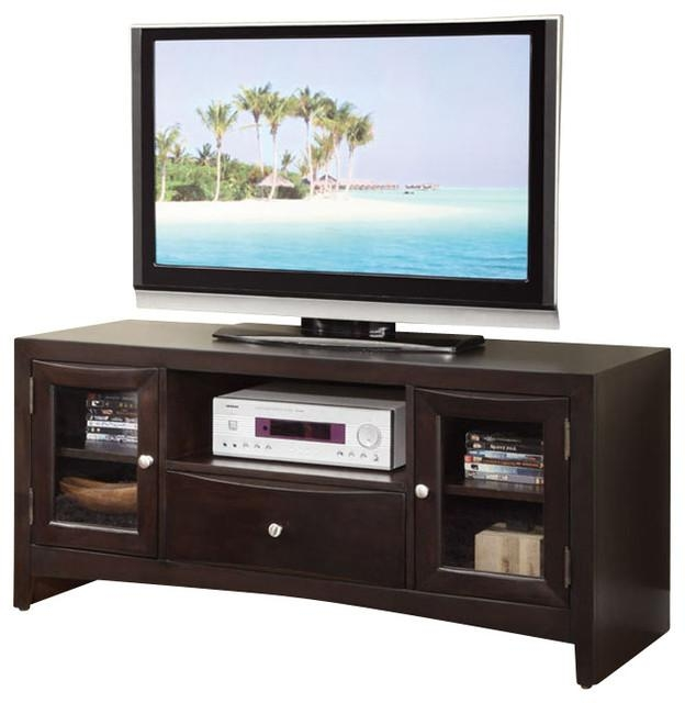 Modern Versatile Wood Entertainment Tv Stand Console Shelves Intended For Most Current Wooden Tv Cabinets With Glass Doors (View 7 of 20)