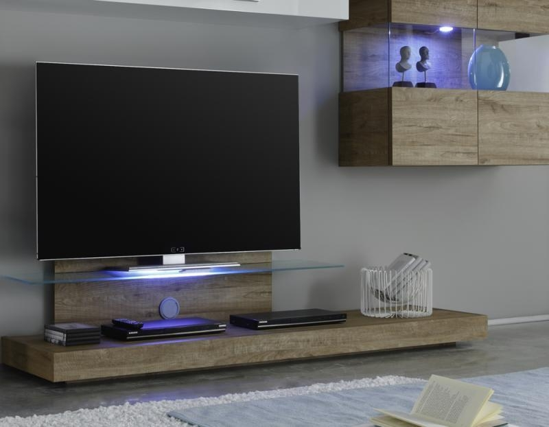 Modern Wall Mounted Tv Unit With White Gloss Modular Storage In Newest Honey Oak Tv Stands (Image 4 of 20)