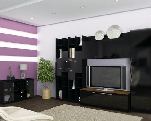 Modern Wall Units And Tv Stands Inside Best And Newest Black Gloss Tv Wall Unit (Image 12 of 20)
