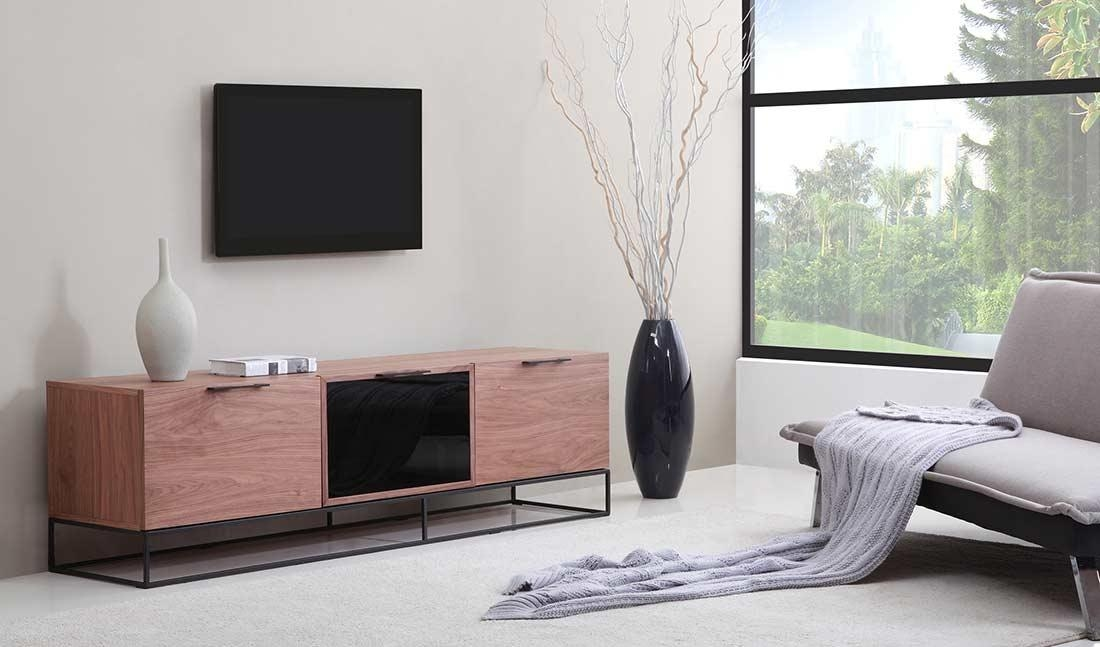 Modern Walnut Black Tv Stand Bm35 | Tv Stands For Most Popular Cream Color Tv Stands (View 7 of 20)