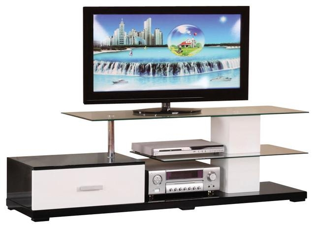 Modern White Black Glass Top 3 Tier Tv Stand With 1 Bottom Drawer Inside Most Recent Wood Tv Stand With Glass Top (View 7 of 20)