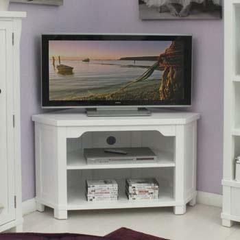 """Modern White Corner Tv Unit For Large Television Up To 46""""corner Inside Current White Corner Tv Cabinets (View 20 of 20)"""