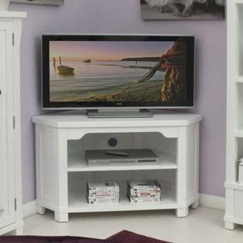 "Modern White Corner Tv Unit For Large Television Up To 46""corner Inside Current White Corner Tv Cabinets (Image 17 of 20)"