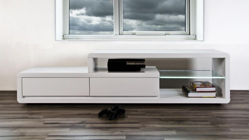 Modern White High Gloss Tv Table | 2 Drawers | Clear Glass Shelf Intended For Recent Tv Table (Image 11 of 20)