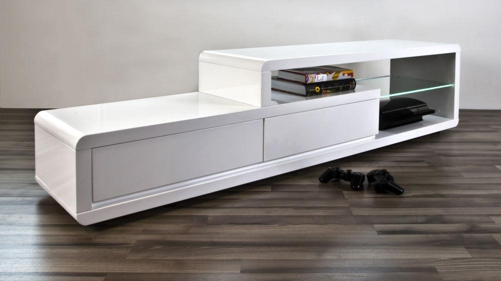 Modern White High Gloss Tv Table | 2 Drawers | Clear Glass Shelf With Newest High Gloss Tv Bench (Image 10 of 20)