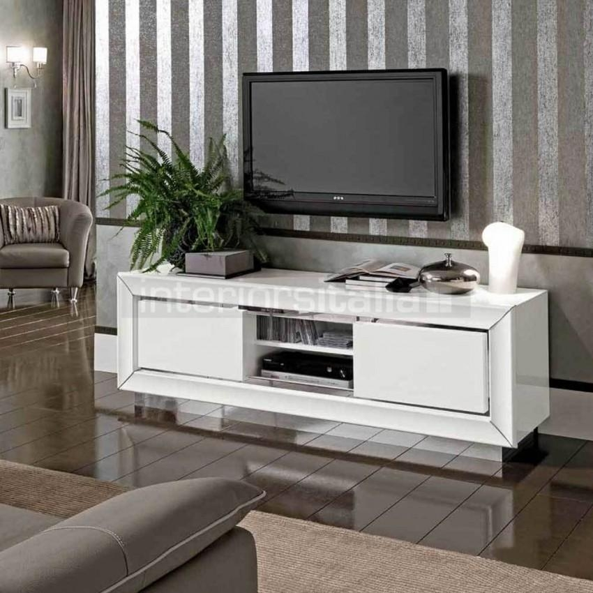 Modern White High Gloss Tv Unit | Dama Bianca | Sale Within Most Popular White High Gloss Tv Unit (View 19 of 20)