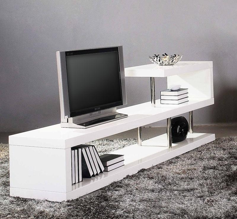 Modern White Lacquer Tv Stand Pertaining To Most Current White Tv Stand Modern (Image 11 of 20)
