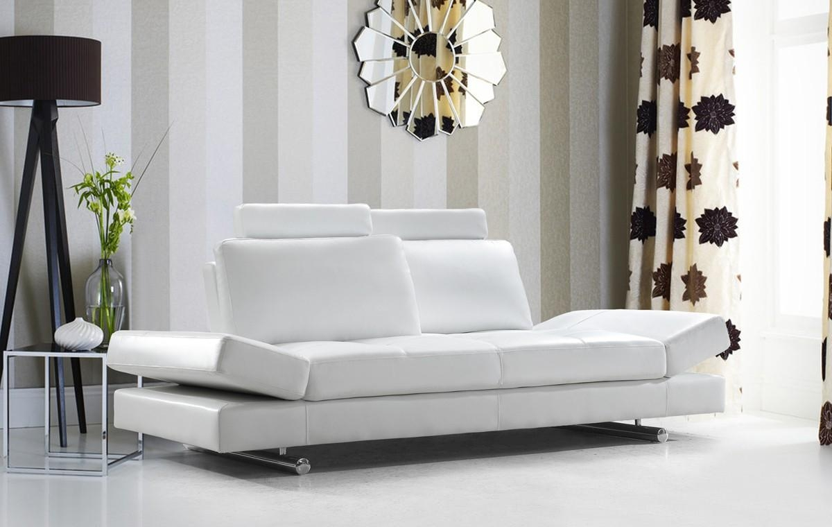 Modern White Leather Sofa W/ Adjustable Backrest Pertaining To Leather Sofas (View 18 of 21)