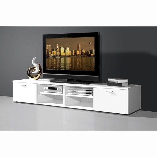 Modern White Low Plasma Tv Stand With 4 Open Compartments Throughout Best And Newest Plasma Tv Stands (View 5 of 20)