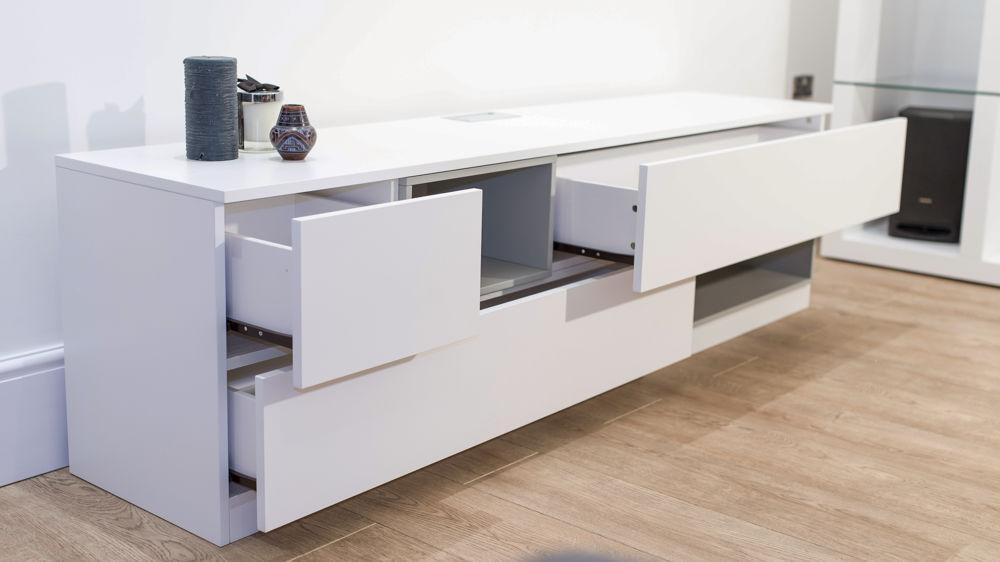 Modern White Oak Tv Unit | 3 Drawers And 2 Shelves | Uk With Best And Newest Tv Drawer Units (Image 12 of 20)