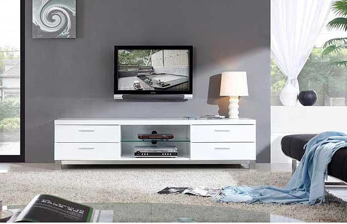 Modern White Tv Stand Bm3 | Tv Stands Within Most Popular Modern White Tv Stands (View 2 of 20)