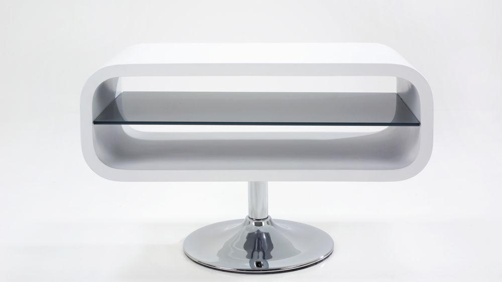 Modern White Tv Stand |Chrome Pedestal Base | White Gloss Inside Most Up To Date White Gloss Oval Tv Stands (Image 12 of 20)