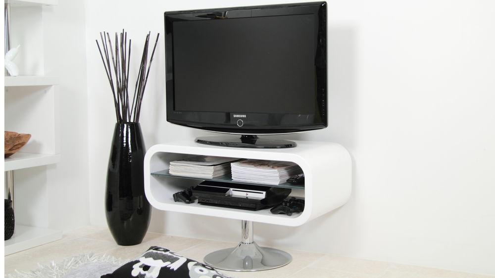 Modern White Tv Stand |Chrome Pedestal Base | White Gloss Pertaining To Most Popular Compact Corner Tv Stands (View 5 of 20)