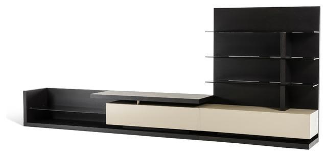 Modrest Jefferson Modern Wenge & Beige Tv Unit – Contemporary In Most Current Wenge Tv Cabinets (Image 9 of 20)