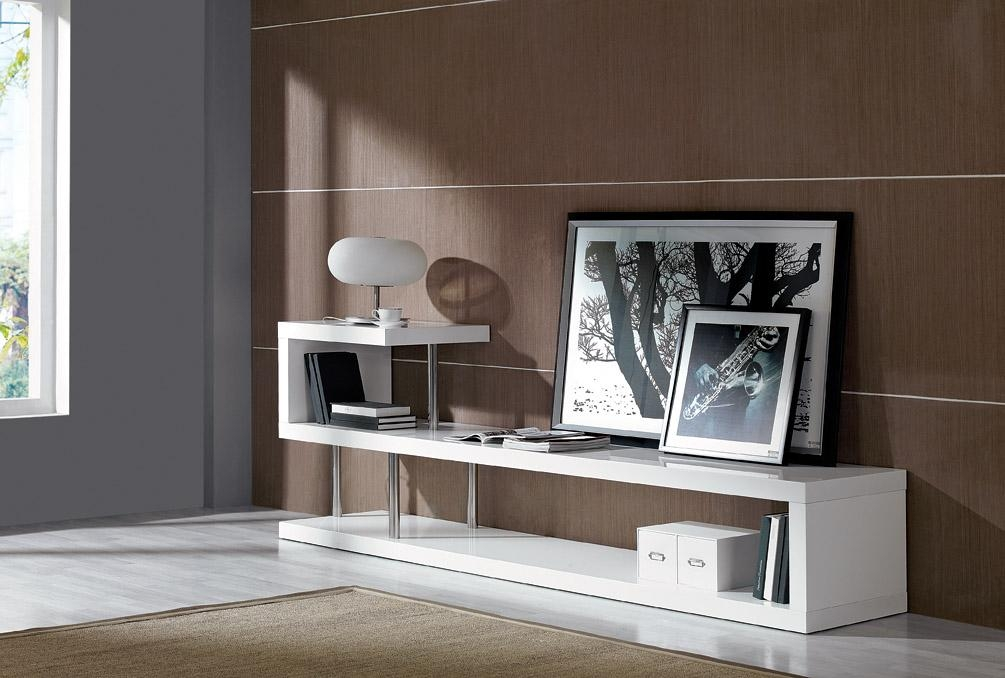 Modrest Win 5 Modern White Lacquer Tv Stand Intended For 2017 Modern White Lacquer Tv Stands (Image 16 of 20)