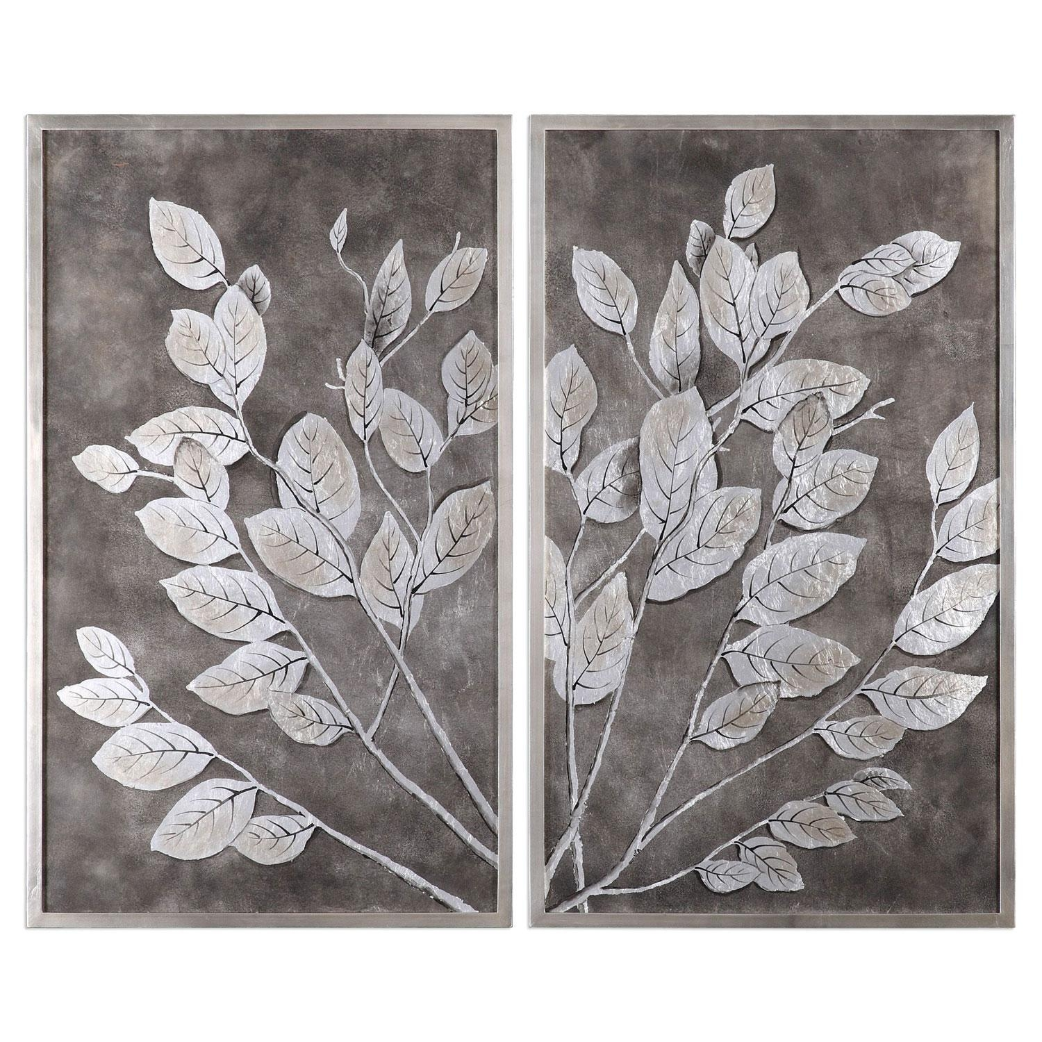 Money Tree Framed Art, Set Of 2 Uttermost Wall Art Wall Art Home Decor Pertaining To Gray And White Wall Art (Image 14 of 20)
