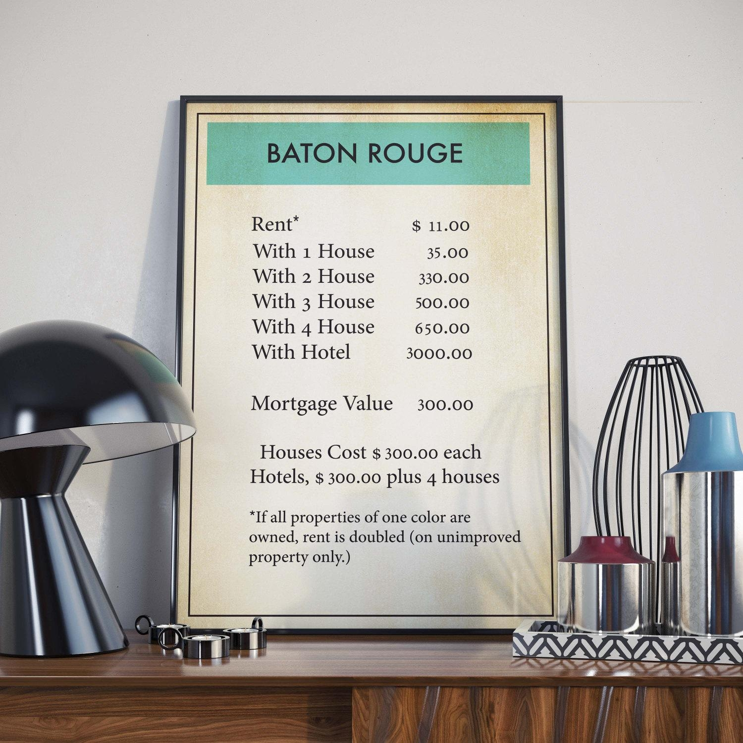 Monopoly Print Baton Rouge Board Games Monopoly Board Game For Board Game Wall Art (Image 14 of 20)