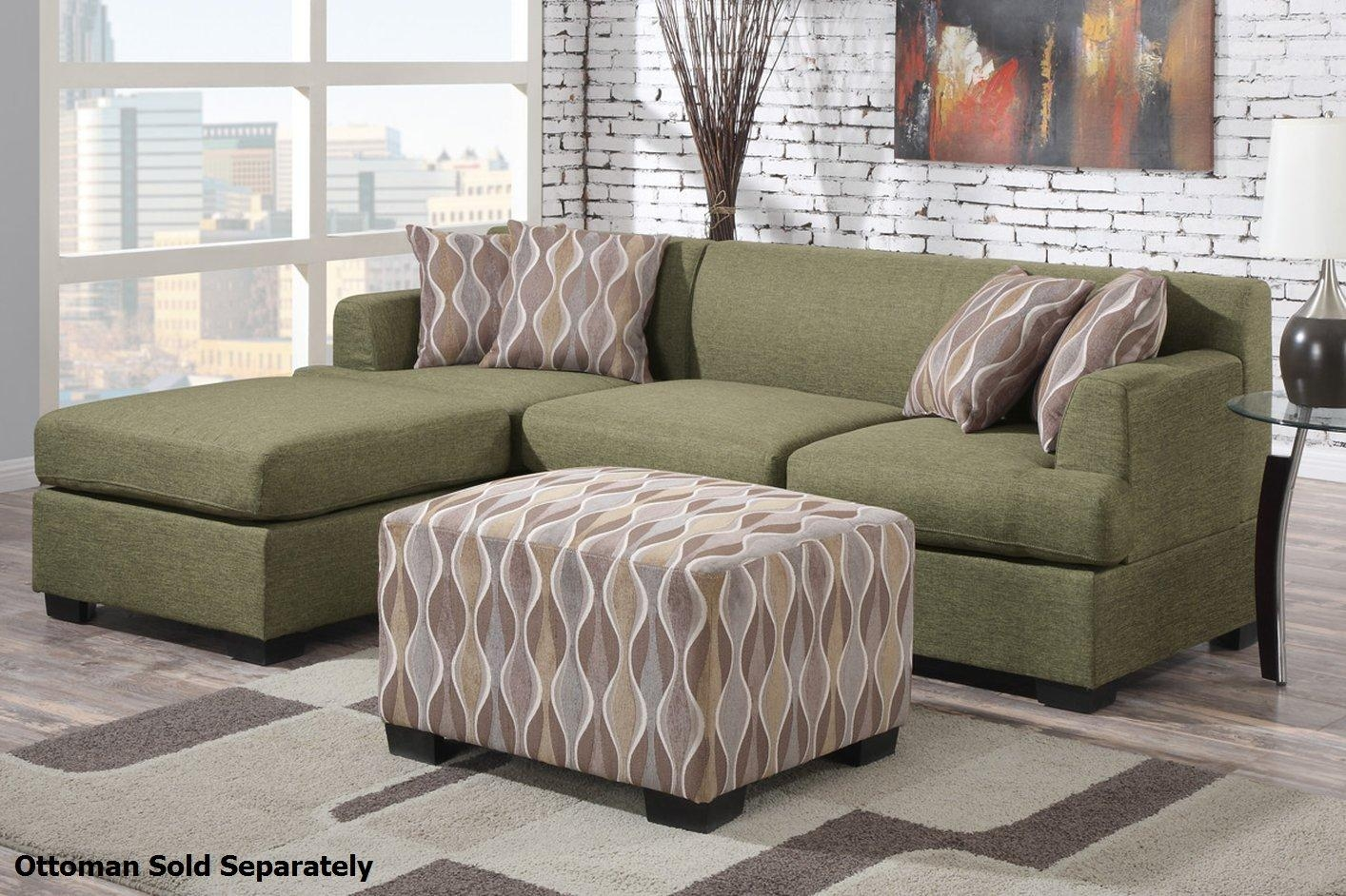 Montreal Ii Green Fabric Sectional Sofa – Steal A Sofa Furniture Pertaining To Cloth Sectional Sofas (View 2 of 21)