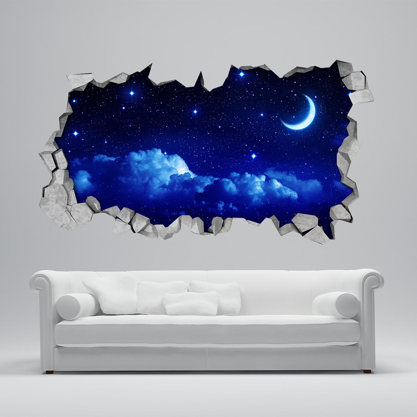 Moon Wall Sticker 3D Broken Wall Decal 3D Wallpaper Wall Pertaining To 3D Printed Wall Art (Image 16 of 20)