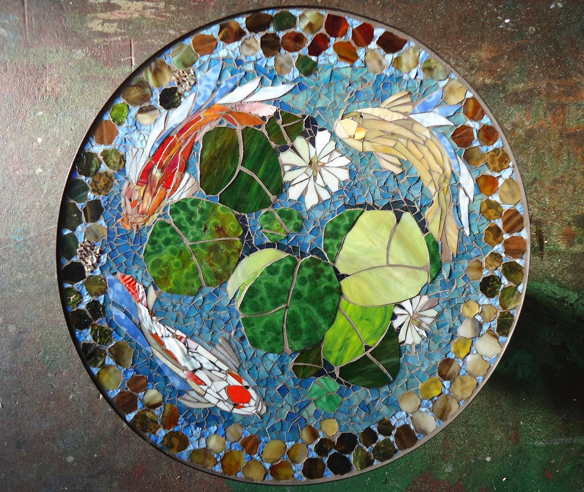 mosaic table koi fish art stained glass mosaic art regarding glass wall art for sale