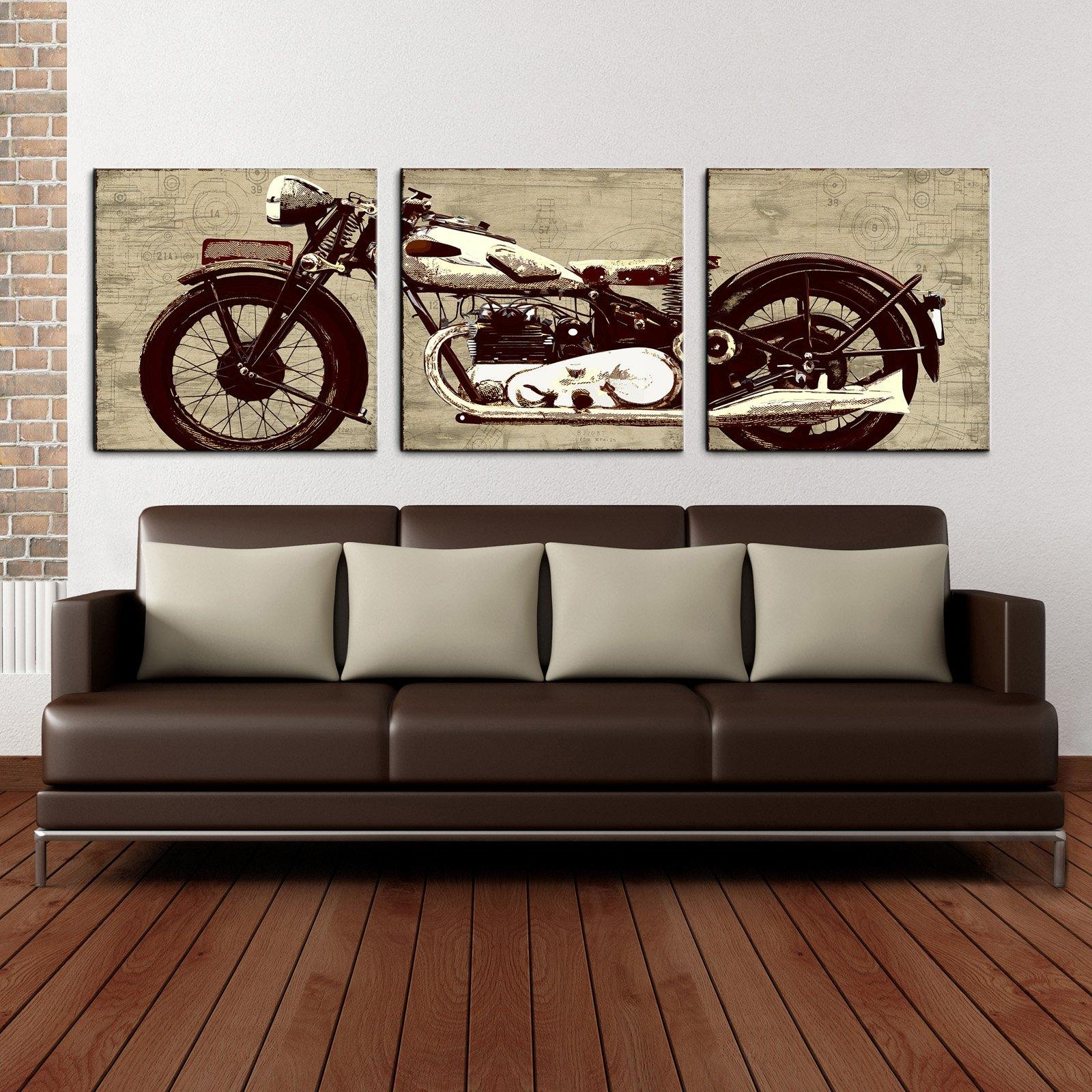 Motorcycle 24 X 72 Canvas Art Print Triptych - Walmart with regard to Three Piece Canvas Wall Art