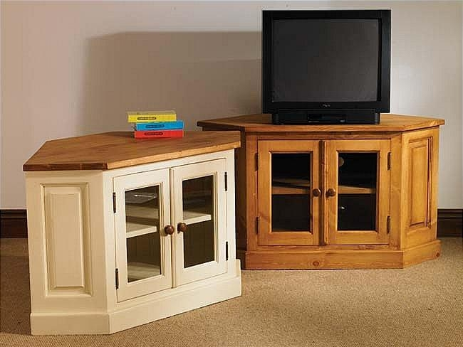 Mottisfont Painted Corner Tv Unit With 2 Glazed Doors Intended For Most Up To Date Wooden Corner Tv Units (Image 16 of 20)