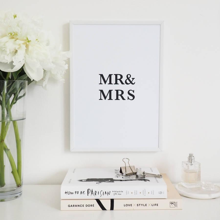 Mr And Mrs' Wall Art Foil Printlily Rose Co Pertaining To Mr And Mrs Wall Art (Image 13 of 20)