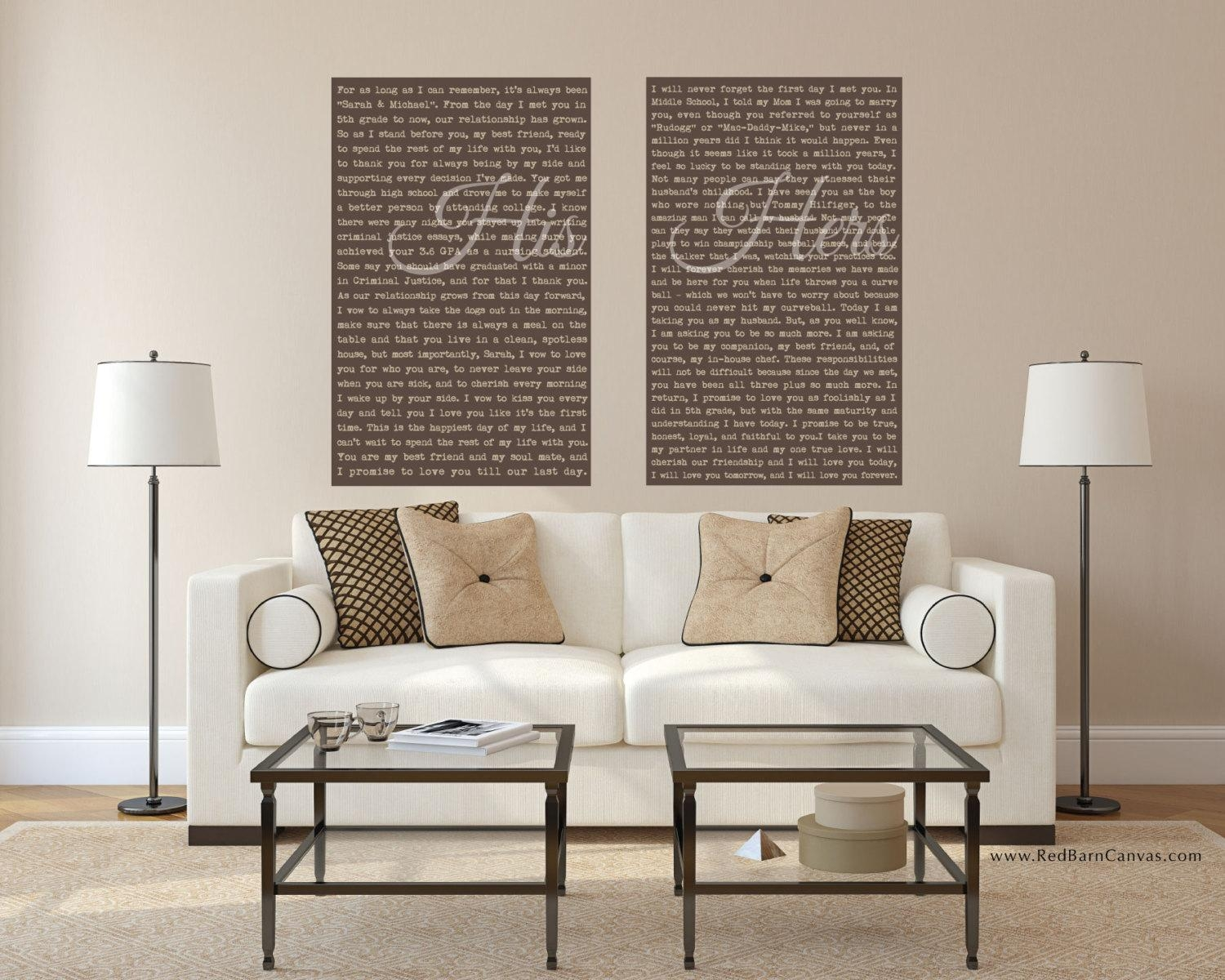 Mr And Mrs Wedding Vows On Canvas His And Hers Custom Wedding Inside Mr And Mrs Wall Art (Image 12 of 20)