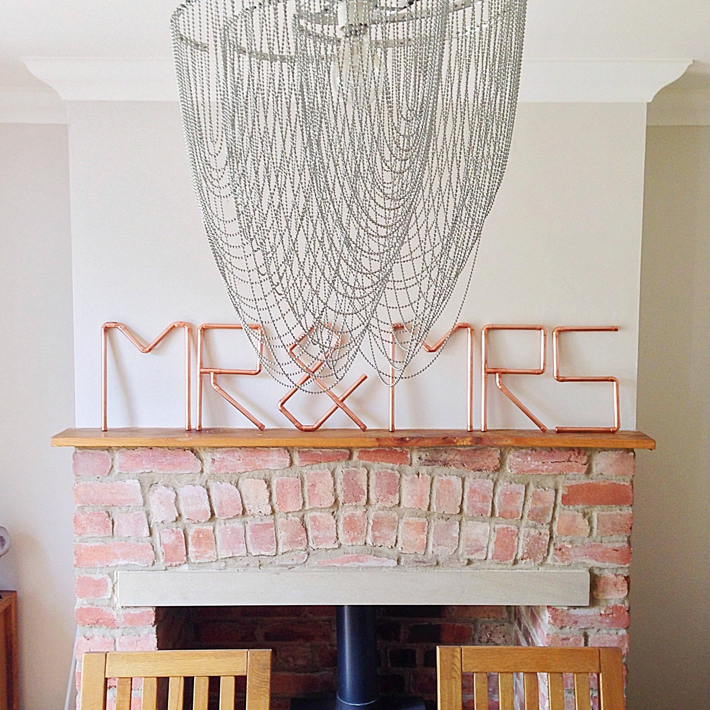 Mr & Mrs, Wall Art, Copper Pipe, Signage, Wedding, Anniversary Intended For Mr And Mrs Wall Art (Image 6 of 20)