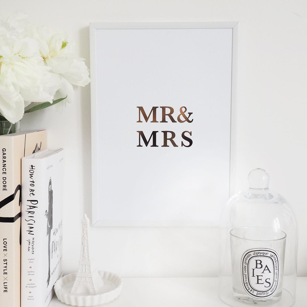 Mr & Mrs' Wall Art Print – Lily Rose Co (View 3 of 20)