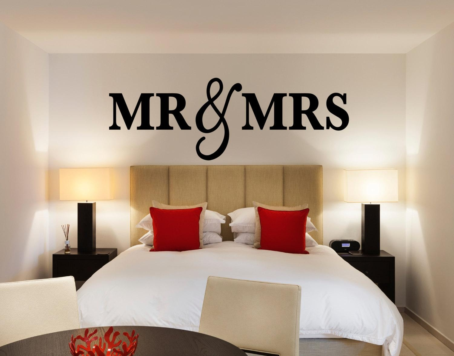 Mr & Mrs Wall Sign For Bedroom Decor Mr And Mrs Sign For Throughout Mr And Mrs Wall Art (View 2 of 20)