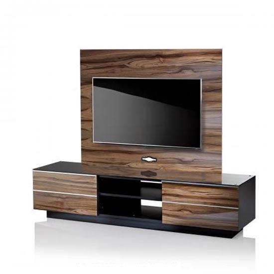Munich Wooden Tv Stand In Black Glass Top With Background Pertaining To Most Popular Wooden Tv Stands (View 16 of 20)