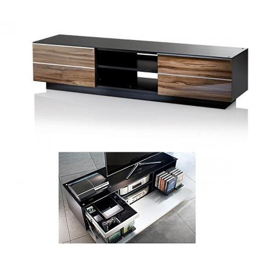 Munich Wooden Tv Stand In Black Glass Top With Drawers And Throughout Most Popular Wood Tv Stand With Glass Top (View 13 of 20)