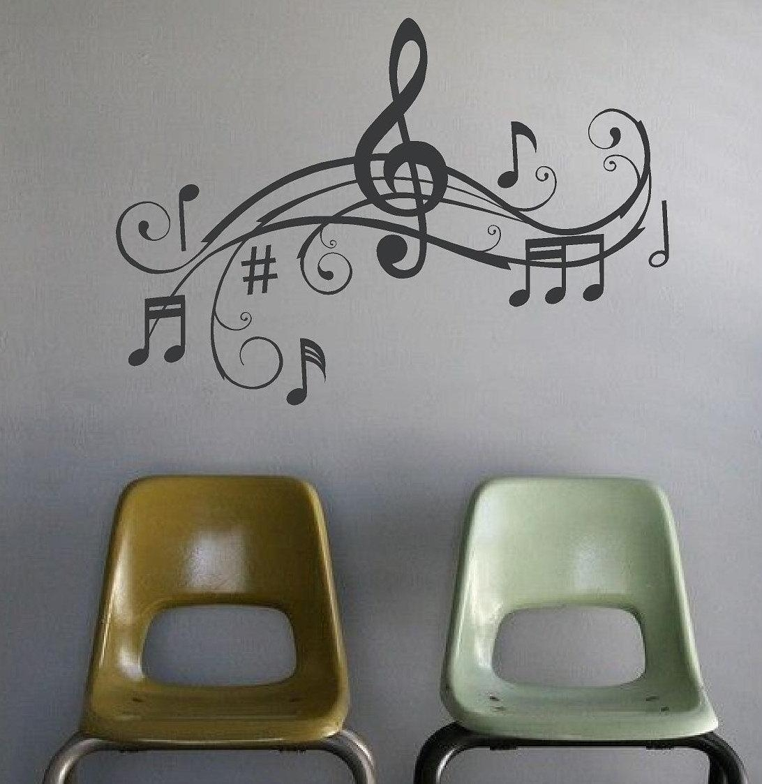Music Notes Wall Art Words Vinyl Lettering Stickers Inside Music Notes Wall Art Decals (Image 10 of 20)