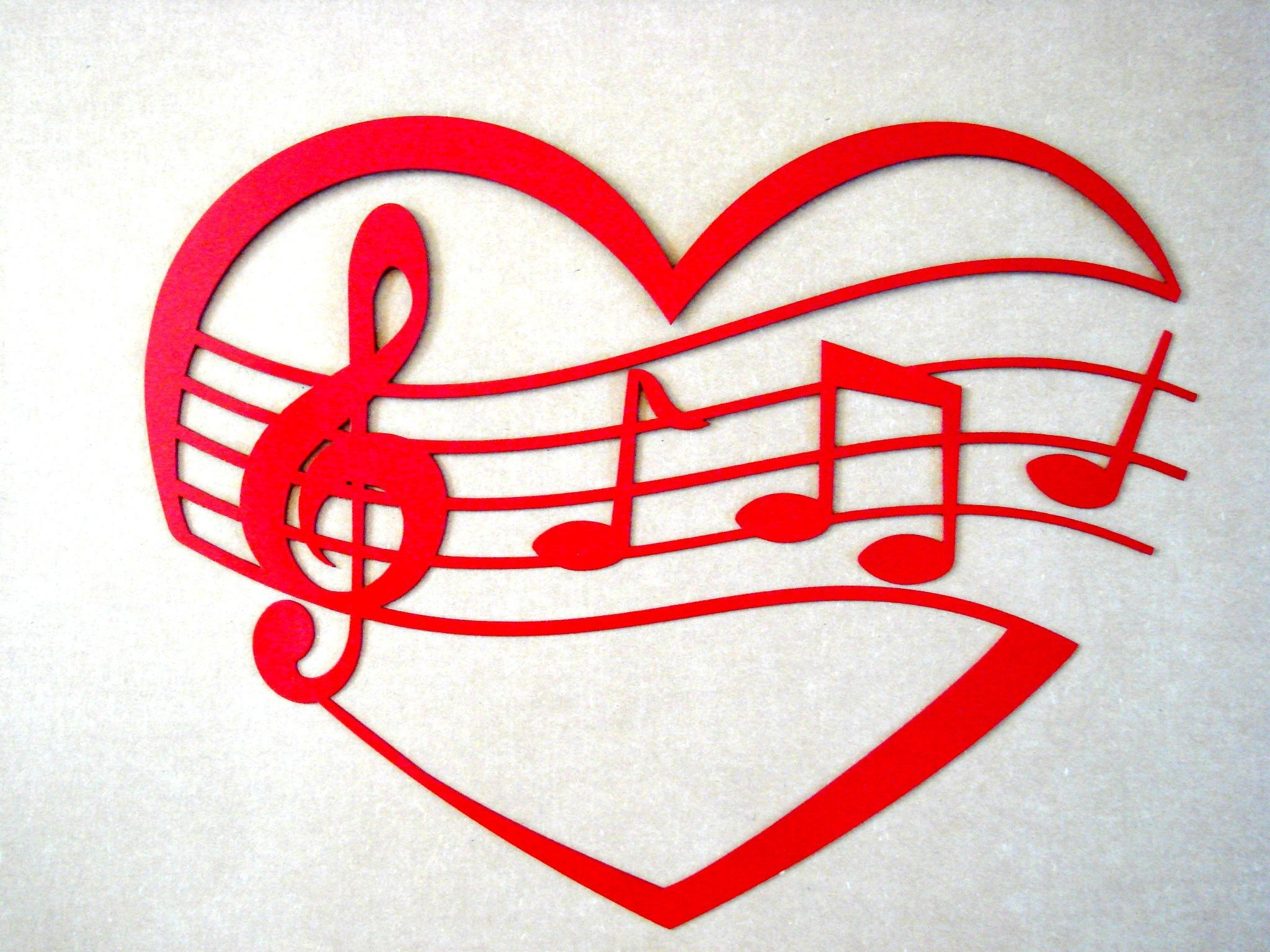 Music Staff (Of My) Heart Shaped Metal Wall Art Sculpture – : Within Heart Shaped Metal Wall Art (Image 9 of 20)