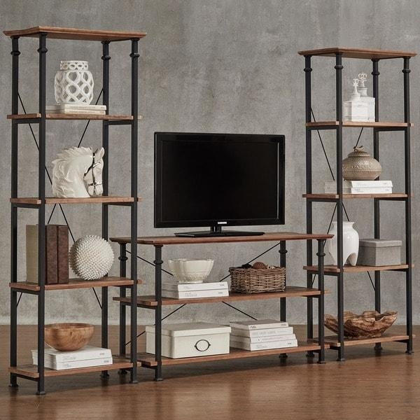 Myra Vintage Industrial Modern Rustic 3 Piece Tv Stand Set Inside Most Recent Vintage Industrial Tv Stands (View 8 of 20)