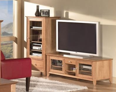 Napa Flat Panel Tv Stand And Audio Cabinet With Glass Doors – Home Regarding 2017 Tv Stands And Cabinets (Image 12 of 20)